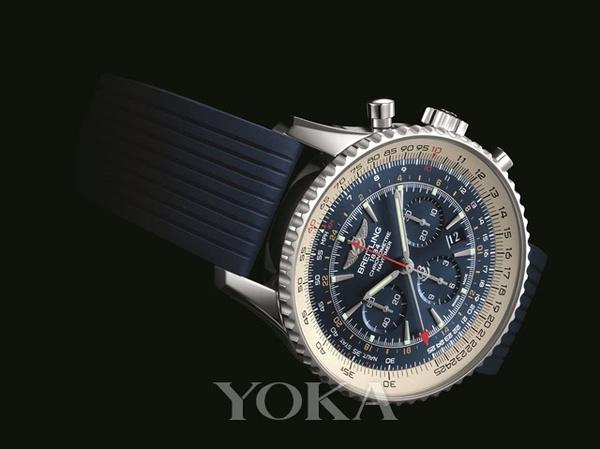 每日一毒 百年灵航空计时世界时间极光蓝腕表